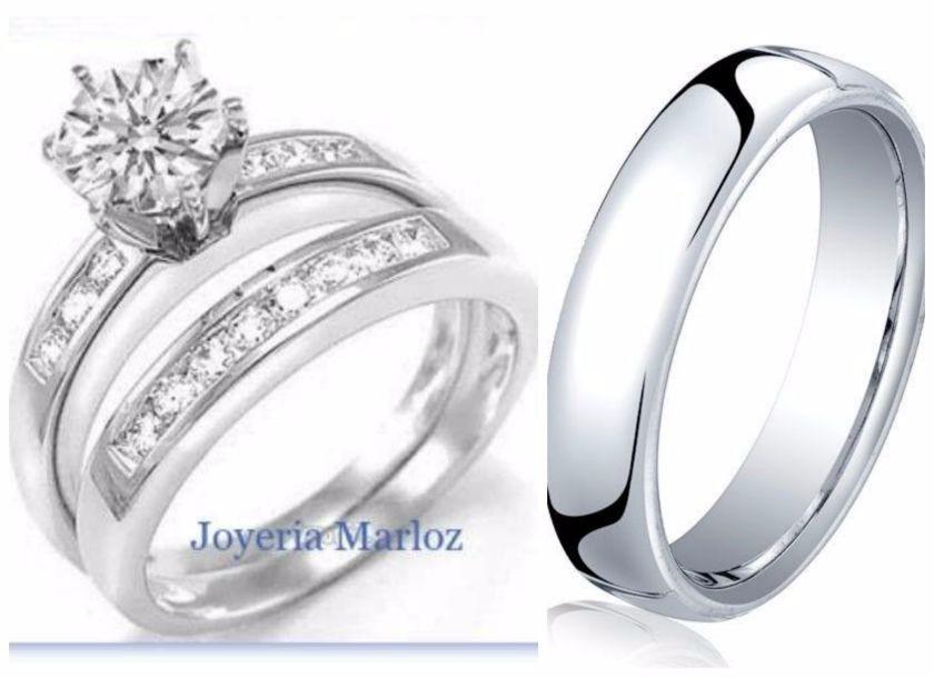 anillo churumbela argollas oro blanco plata 3 piezas