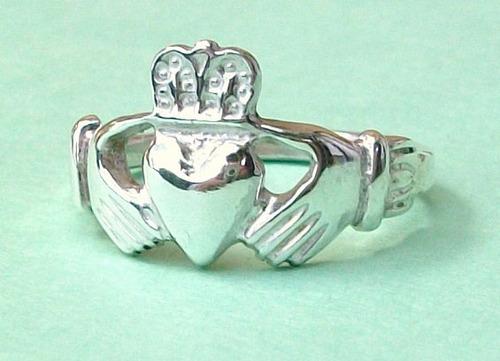 anillo claddagh ring en plata fina ley.925