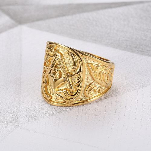 anillo color oro oro masón relieve acero inoxidable hombre