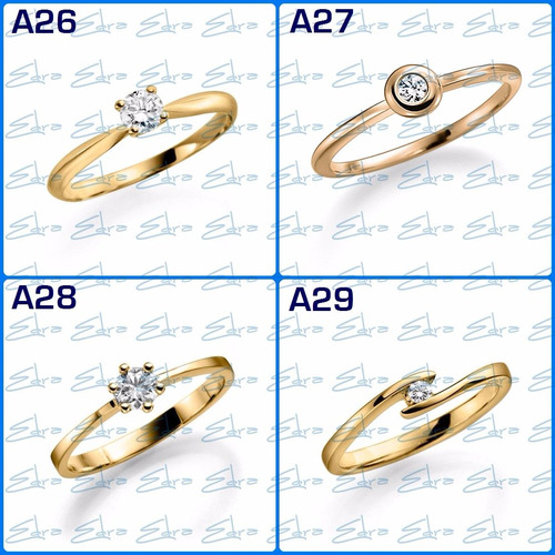 anillo comprom oro18k diamante de 0.15ct certificado laborat