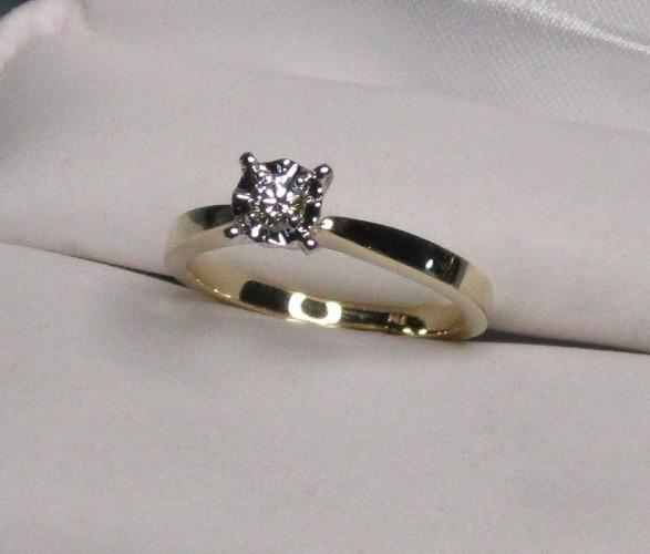 2f9a6e4ebacd Anillo Compromiso 14k Diamante Natural .10 Puntos G Vvs2 ...