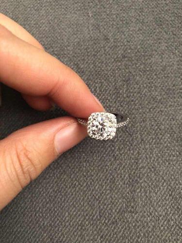 anillo compromiso chapa oro blanc con circones elements swar