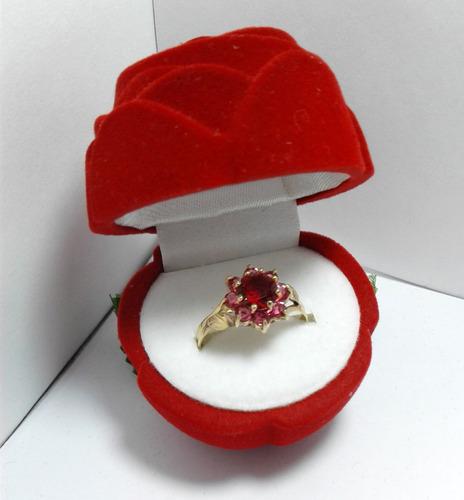 anillo compromiso cintillo roseta cubic oro18k certificado