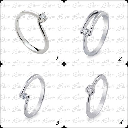 anillo compromiso diamante 0.10ct certificado-plata, opc oro
