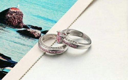 c6f0f3041686 Anillo Compromiso Doble + Caja Elegante Baño Plata 925 Rosa ...