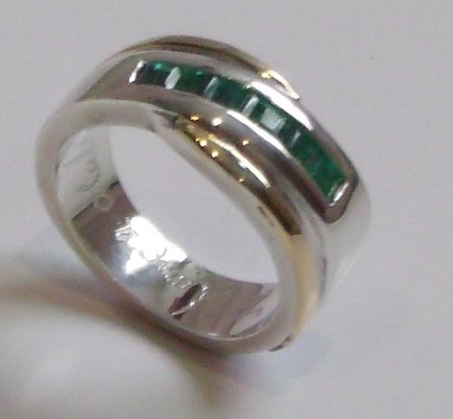 anillo compromiso en plata lamina oro 18k y 6 esmeraldas