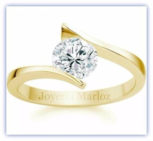 anillo compromiso oro 14kt brillante ruso envio gratis
