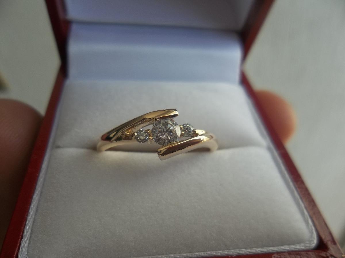 dedddba772a8 anillo compromiso oro amarillo 14k macizo diamante grafito. Cargando zoom.