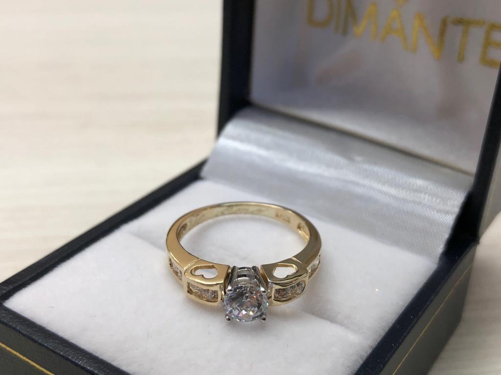 c8fcc0e5ced6 anillo compromiso oro amarillo 14k zirconia corte brillante. Cargando zoom.