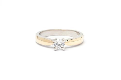 anillo compromiso oro plata 925 en baño oro blanco