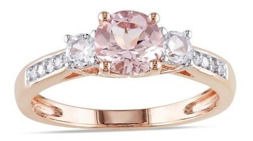anillo compromiso oro rosa 10k y zirconia sintética cz