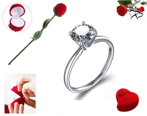 3b4f61215fad Anillo Compromiso Plata Baño De Oro 24k Diamante Natural -   990.00 ...