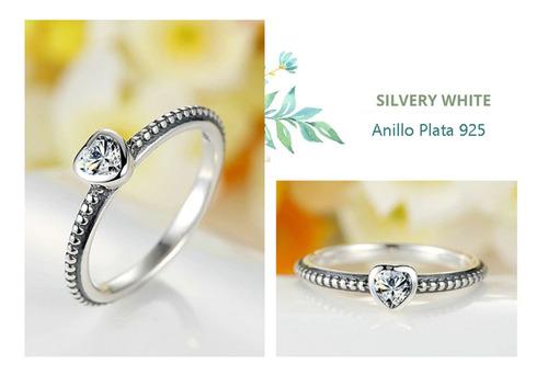 anillo compromiso plata corazón estilo pandora / aranyjoyas