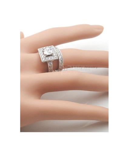 anillo compromiso, plata c/platino, diamantes síntesis.(2).