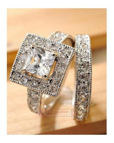 anillo compromiso, plata, diamantes sintesis