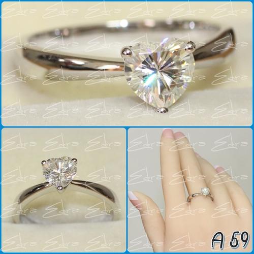 anillo compromiso: plata ley 950 y zircon de swarovski c/u