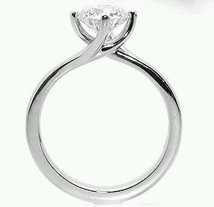 anillo compromiso plata y baño de oro14k swarovski twist.p.c