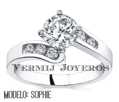 anillo compromiso plata y baño de oro14k swarovski varios