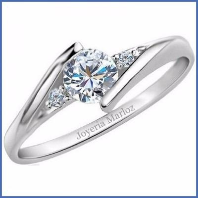 anillo compromiso plata  y baño oro blanco matrix