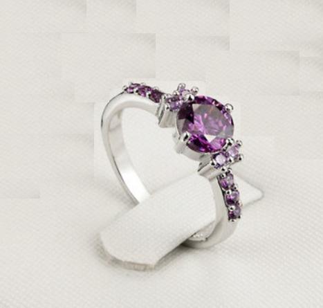 anillo compromiso promesa regalo morado cristales baño plata