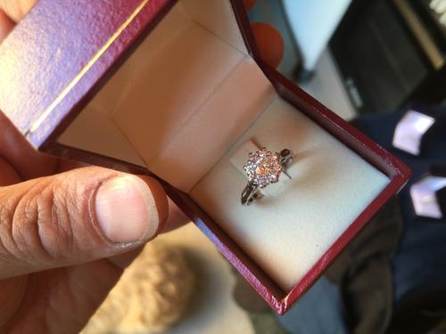 anillo compromiso roseta brillantes oro blanco garantizado.