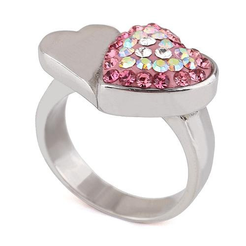 anillo con cristales, ocean heart oh15-50