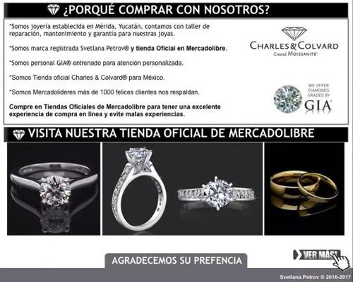 anillo con diamante cultivado azul de 100 pts. en oro de 14k