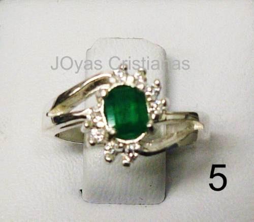 anillo con esmeralda plata 925 oro compromiso acepto cambios