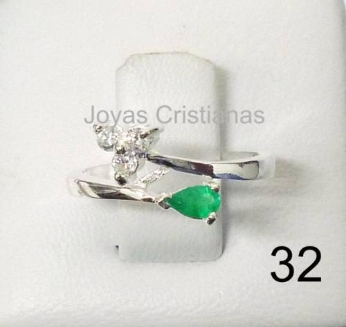 anillo con esmeralda plata 925 oro compromiso joyas argollas