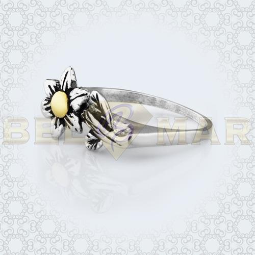 anillo con flor de plata 925 y oro 18 kts + estuche garantia