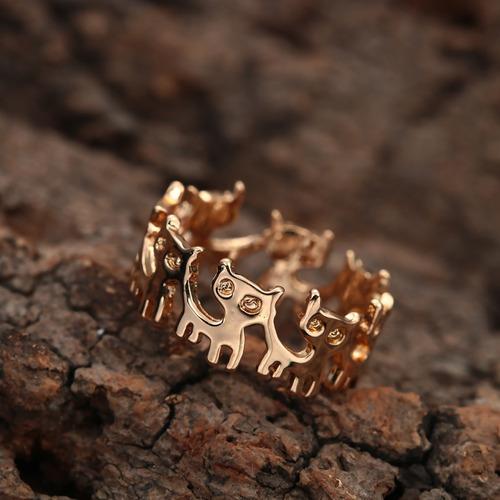 anillo con gatitos sin fin dorado regalo a-234