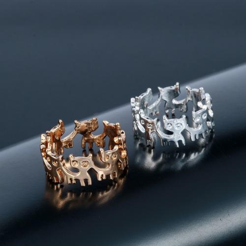 anillo con gatitos sin fin plateado regalo a-233