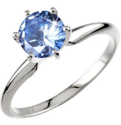 anillo con moissanita de .75 ct. azul en oro de 14k -40%