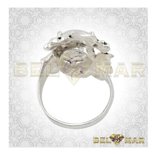 anillo con piedras cubic de colores de plata 925 y oro 18 k.