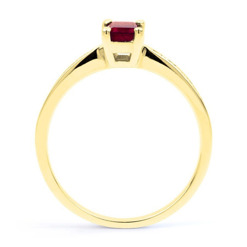 anillo con ruby natural corte octagon de 1.11 ct. en oro 14k