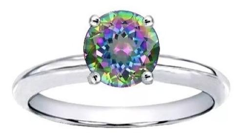 anillo con topacio multicolor 1.50 ct.