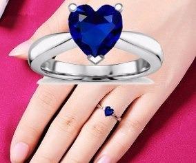 anillo con zafiro corazon