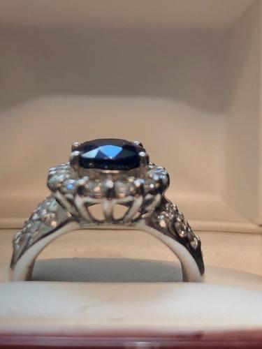 anillo con zafiro natural azul oval de 5.0 ct. envio gratis