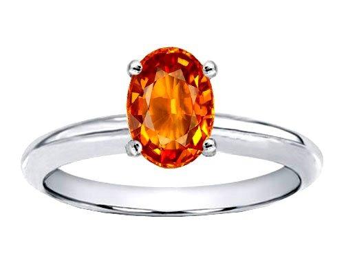 anillo con zafiro natural naranja de 8.10 cts.