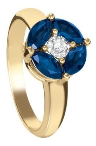 anillo con zafiro y diamante