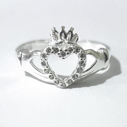 anillo corazon del amor buffy claddagh en plata ley 0.925