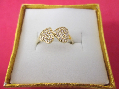 anillo corazones dama oro 10 kilates con zirconias.