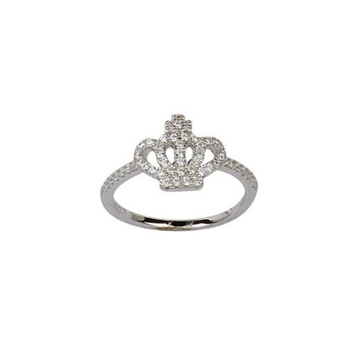 anillo corona con piedras de plata rodinada 925 mod 10050