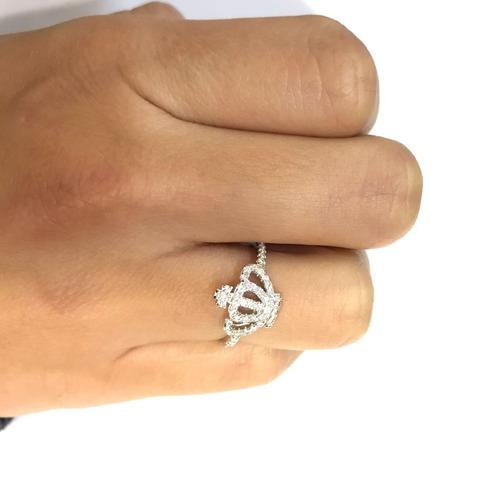 anillo corona de plata 925  y cúbic modelo 10050