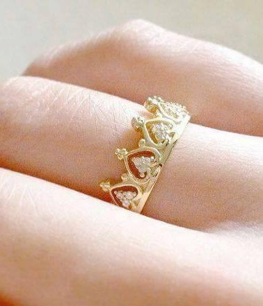 anillo corona oro amarillo 14k amor pareja compromiso