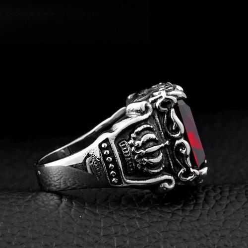 anillo corona piedra gótico vintage acero inoxidable hombre
