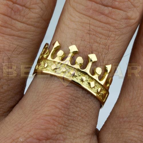 anillo corona rey de oro 18 kts 4,2 gr + grabado estuche