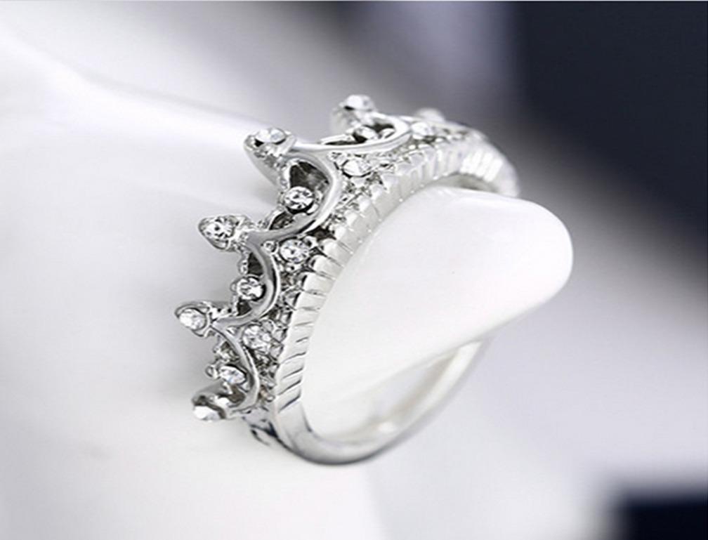 anillo corona reyna plata rodio vintage real en mercado libre
