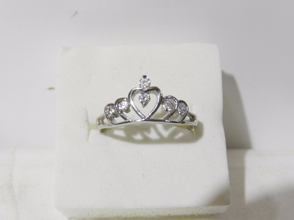 b7f79360fa7e Anillo   Corona - Tiara De Princesa Con Cubic   Plata    -   500