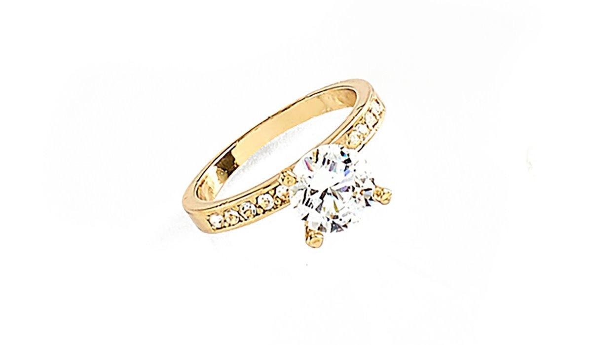 081316b39af9 Nice Anillo De Compromiso Cristal Diamonice En Baño Oro 18k ...